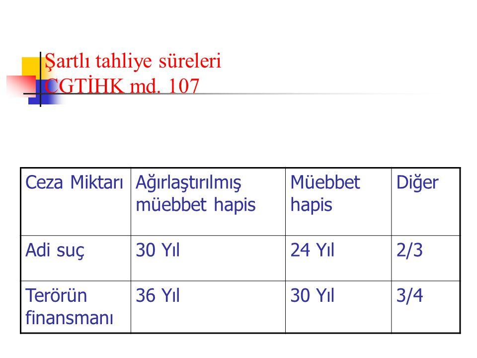 Şartlı tahliye süreleri CGTİHK md. 107