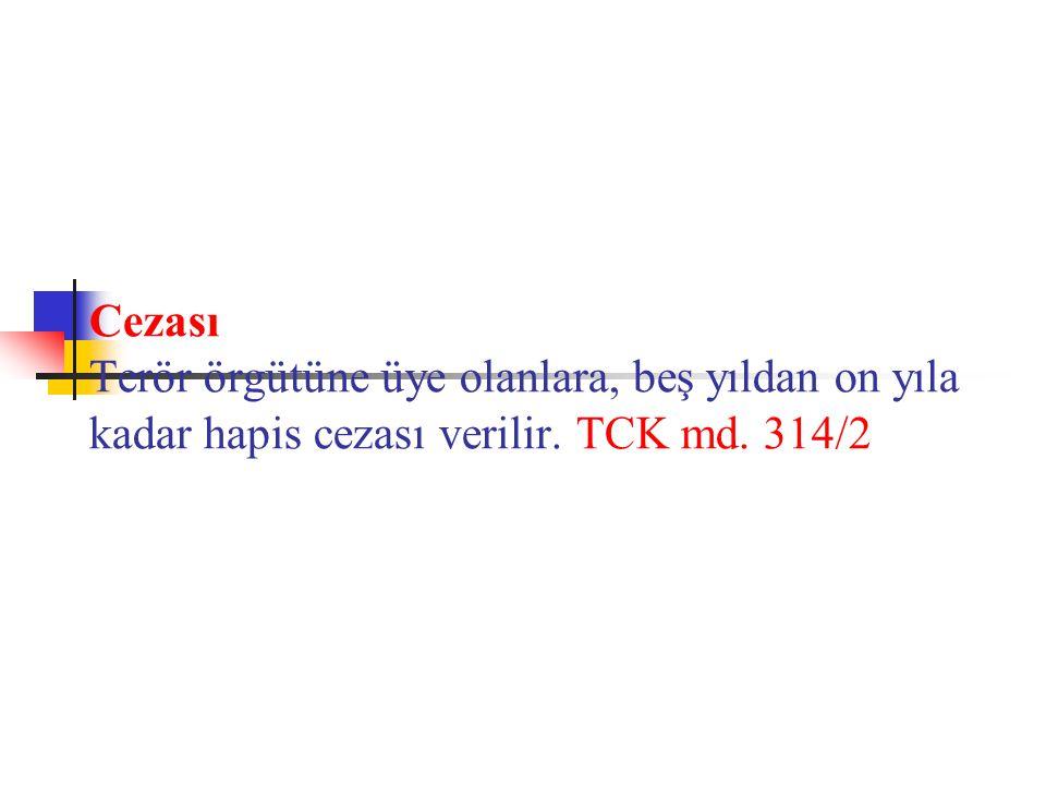 Cezası Terör örgütüne üye olanlara, beş yıldan on yıla kadar hapis cezası verilir. TCK md. 314/2