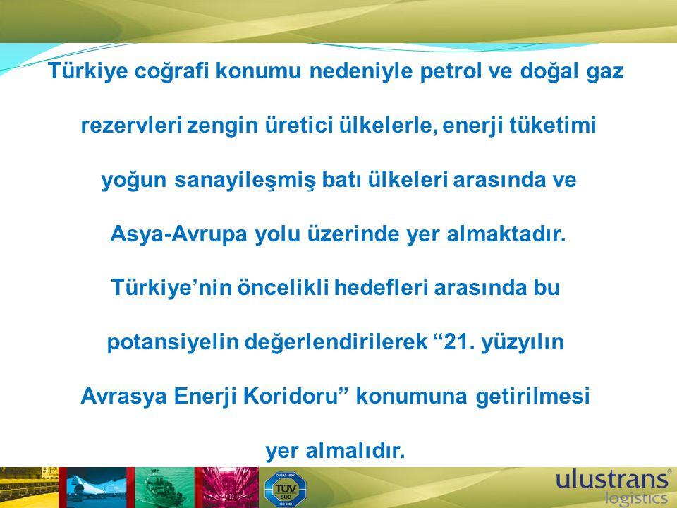 Türkiye coğrafi konumu nedeniyle petrol ve doğal gaz