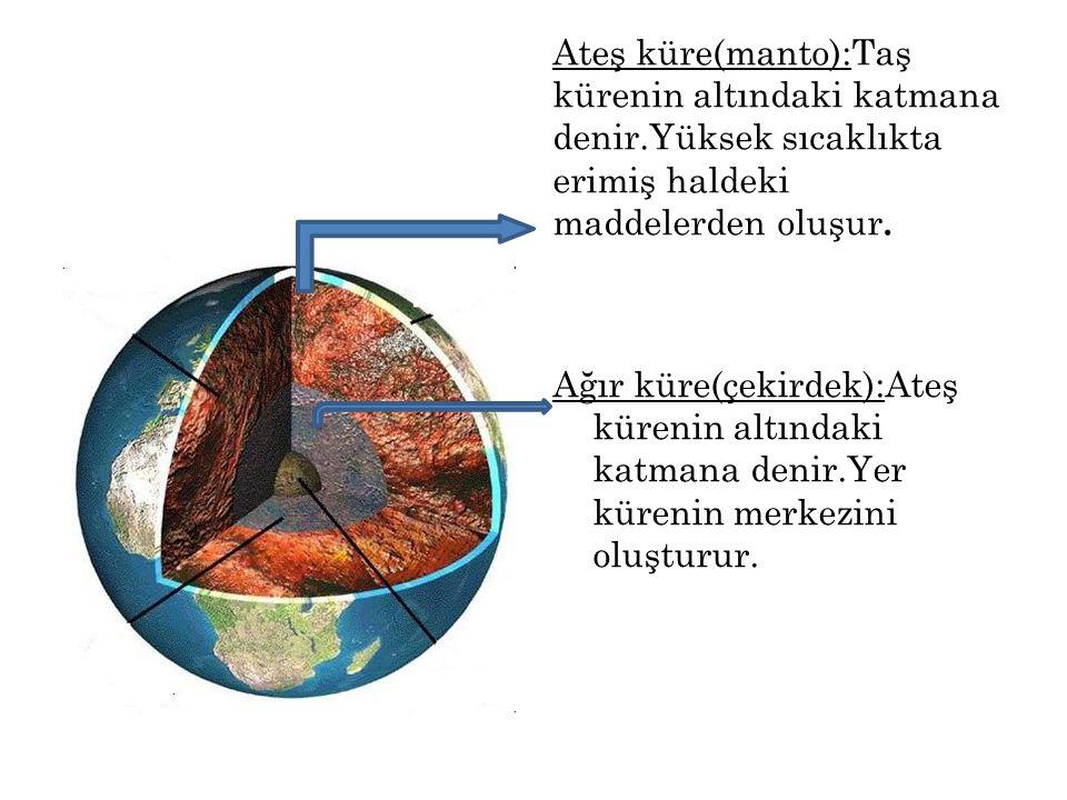 Ateş küre(manto):Taş kürenin altındaki katmana denir