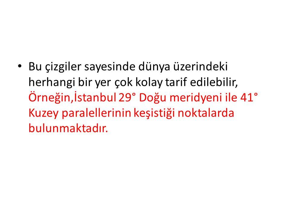 Bu çizgiler sayesinde dünya üzerindeki herhangi bir yer çok kolay tarif edilebilir, Örneğin,İstanbul 29° Doğu meridyeni ile 41° Kuzey paralellerinin keşistiği noktalarda bulunmaktadır.