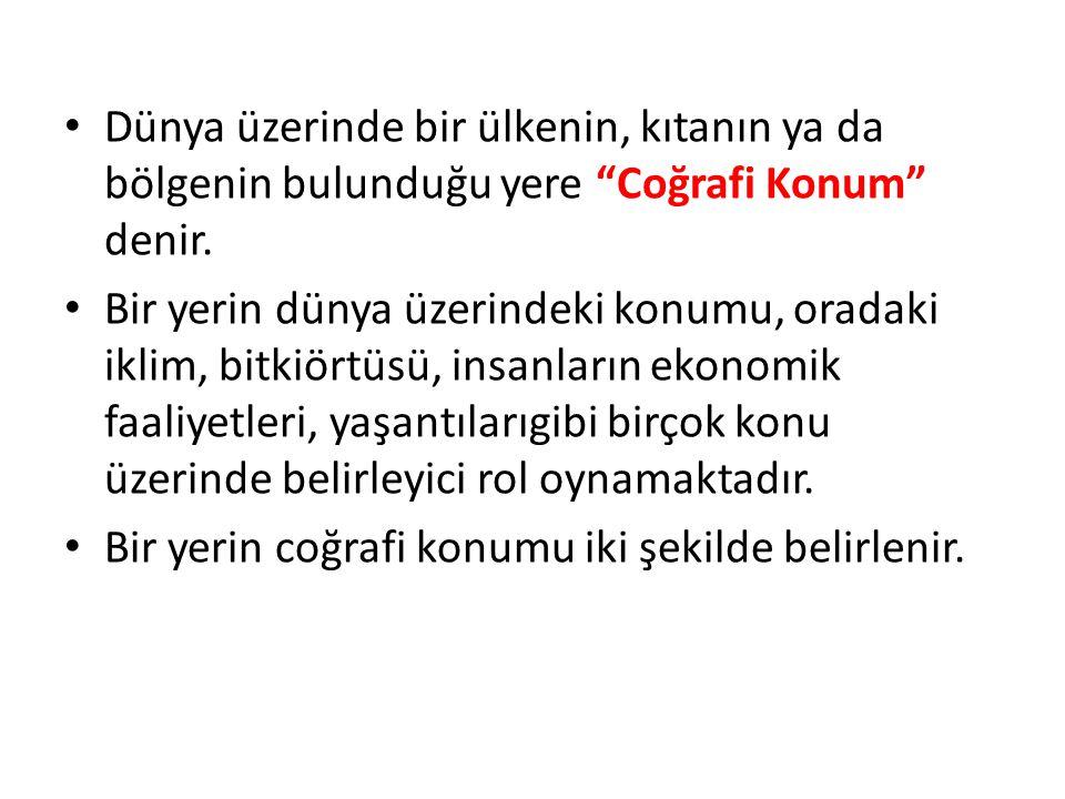 Dünya üzerinde bir ülkenin, kıtanın ya da bölgenin bulunduğu yere Coğrafi Konum denir.