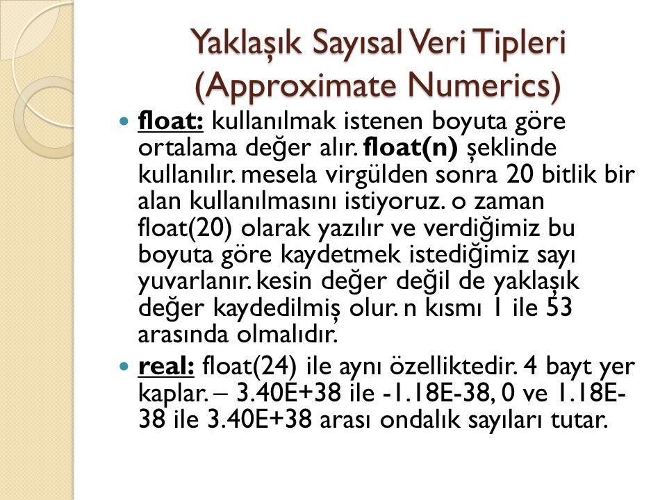 Yaklaşık Sayısal Veri Tipleri (Approximate Numerics)