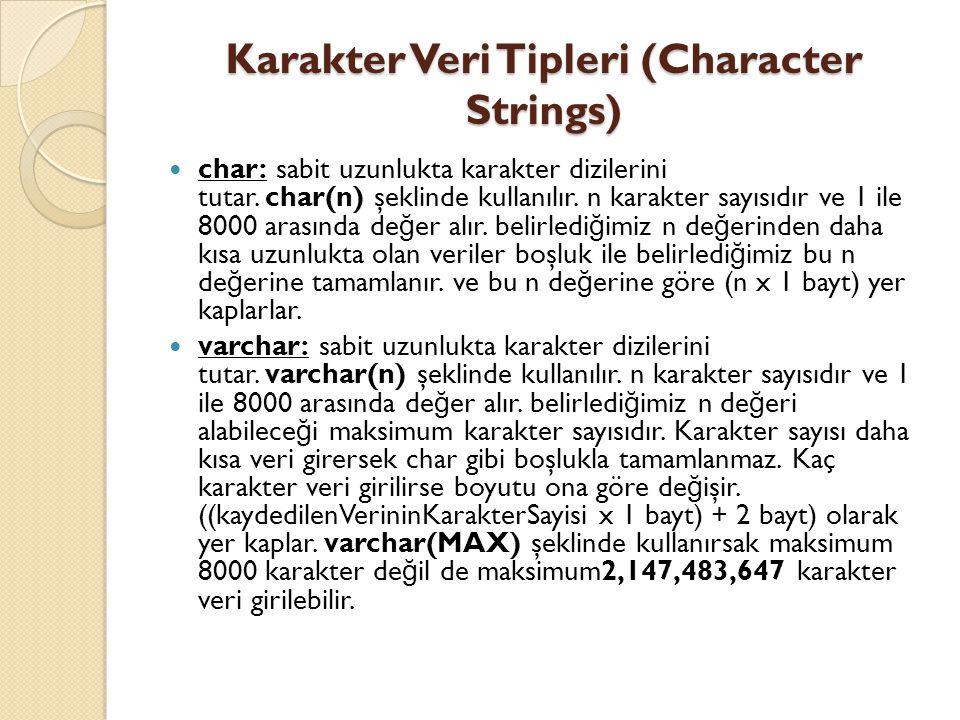 Karakter Veri Tipleri (Character Strings)