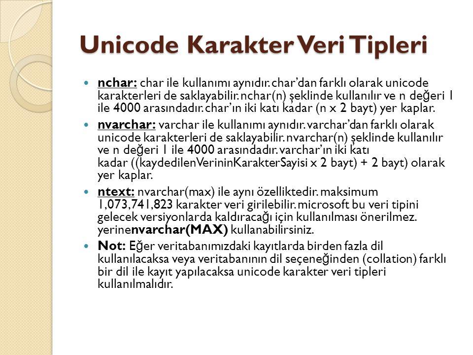 Unicode Karakter Veri Tipleri