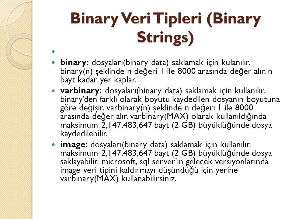Binary Veri Tipleri (Binary Strings)