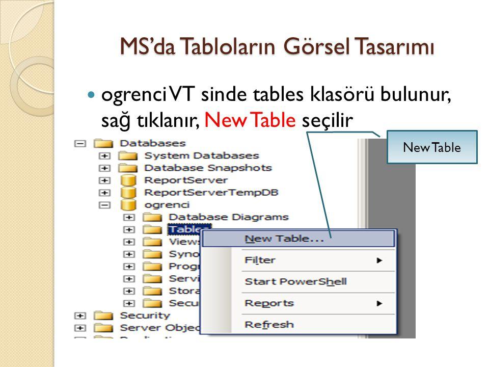 MS'da Tabloların Görsel Tasarımı