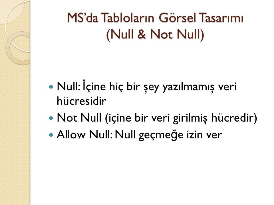 MS'da Tabloların Görsel Tasarımı (Null & Not Null)