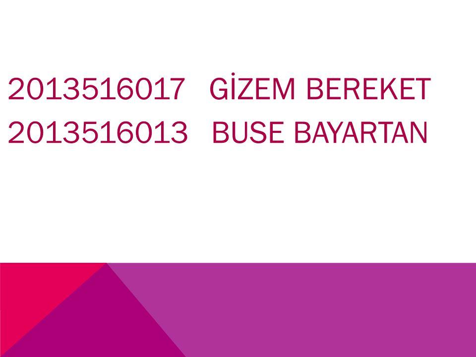 2013516017 GİZEM BEREKET 2013516013 BUSE BAYARTAN