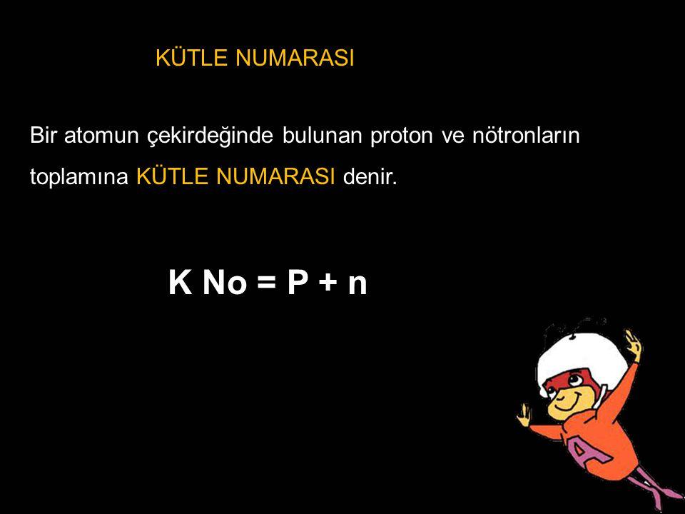 K No = P + n KÜTLE NUMARASI