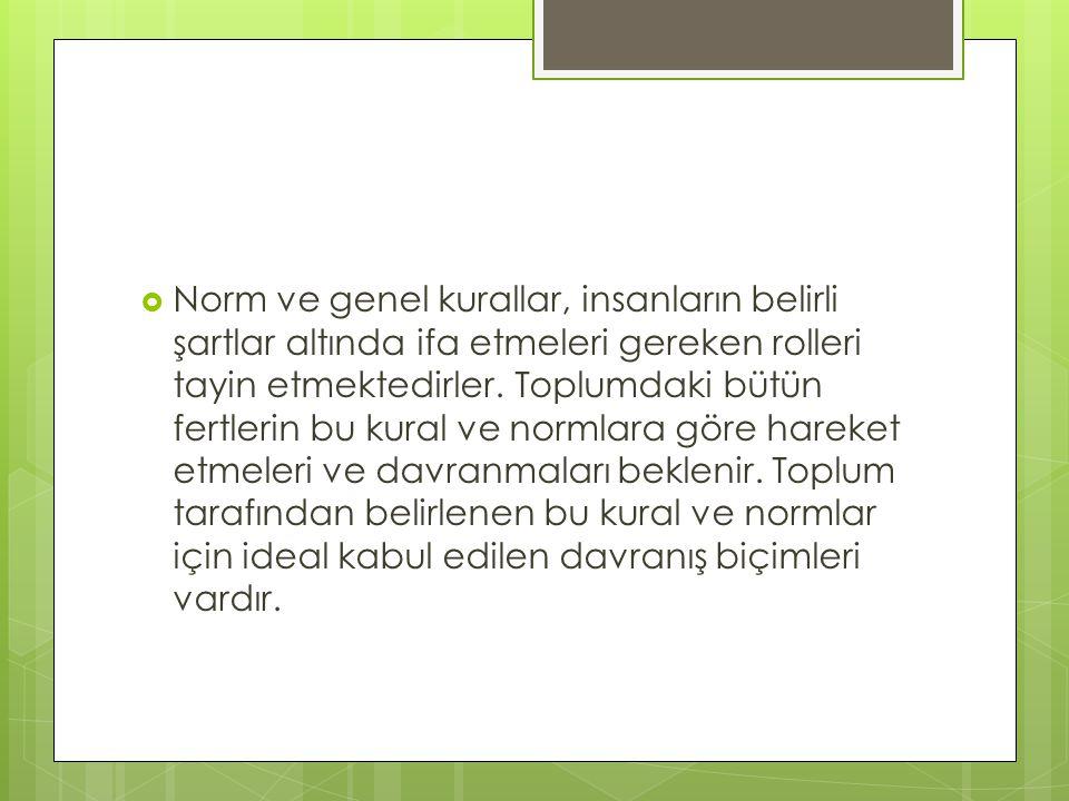 Norm ve genel kurallar, insanların belirli şartlar altında ifa etmeleri gereken rolleri tayin etmektedirler.
