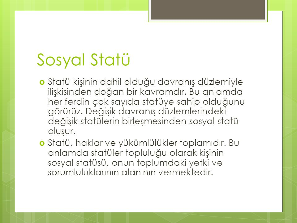 Sosyal Statü