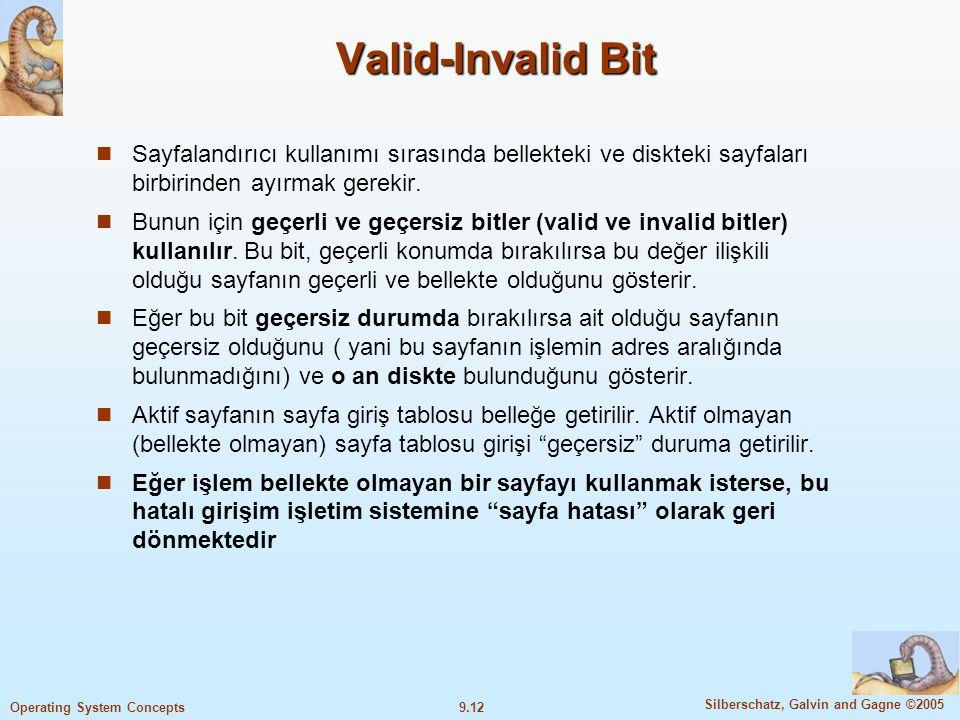 Valid-Invalid Bit Sayfalandırıcı kullanımı sırasında bellekteki ve diskteki sayfaları birbirinden ayırmak gerekir.