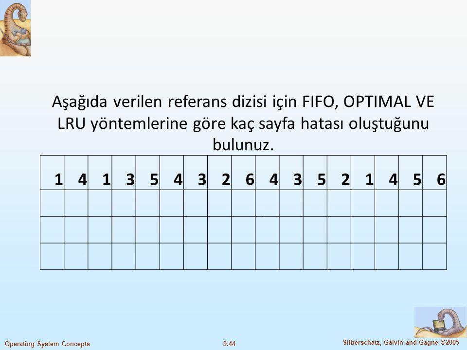 Aşağıda verilen referans dizisi için FIFO, OPTIMAL VE LRU yöntemlerine göre kaç sayfa hatası oluştuğunu bulunuz.