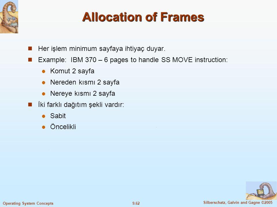 Allocation of Frames Her işlem minimum sayfaya ihtiyaç duyar.