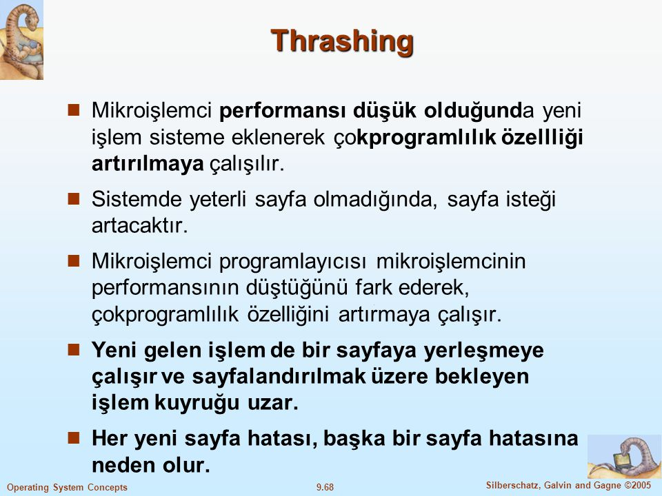 Thrashing Mikroişlemci performansı düşük olduğunda yeni işlem sisteme eklenerek çokprogramlılık özellliği artırılmaya çalışılır.