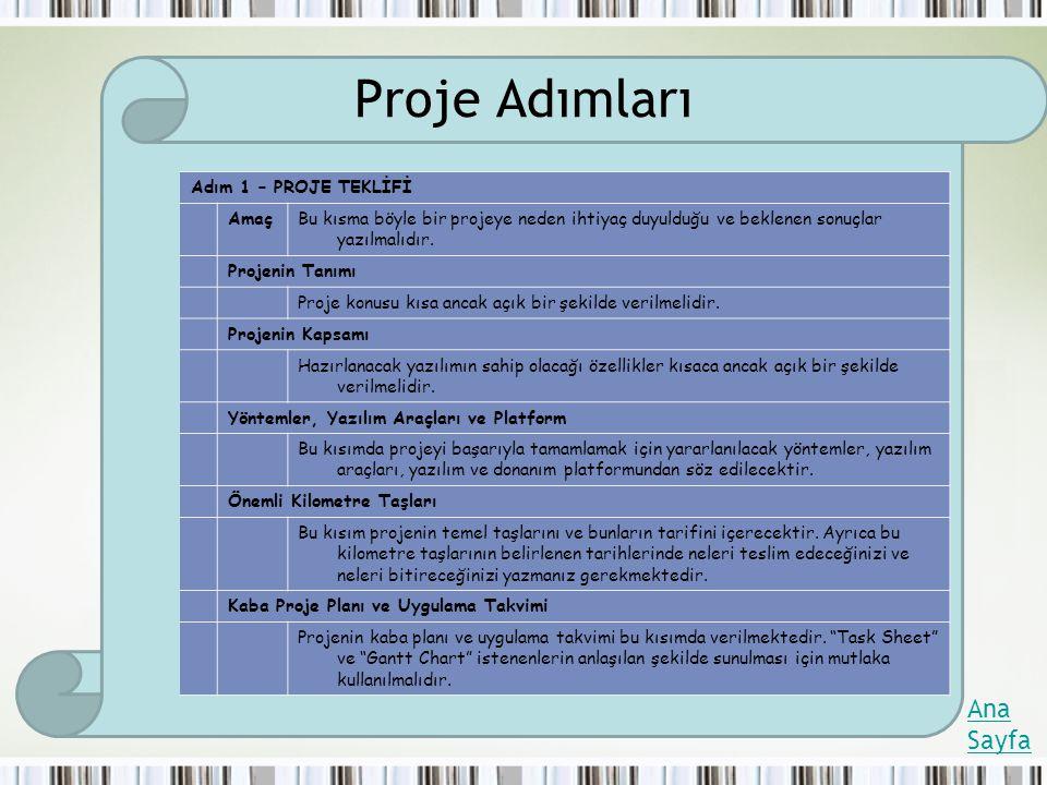Proje Adımları Ana Sayfa Adım 1 – PROJE TEKLİFİ Amaç