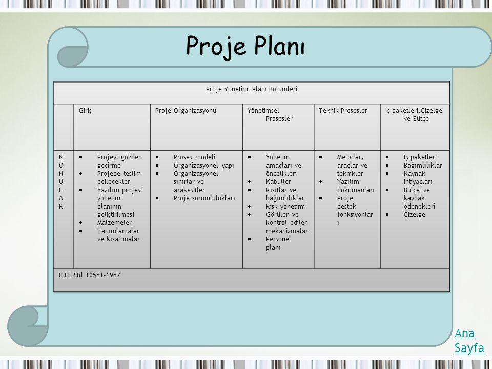 Proje Yönetim Planı Bölümleri