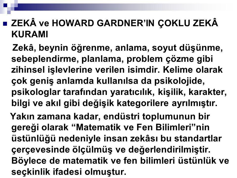 ZEKÂ ve HOWARD GARDNER'IN ÇOKLU ZEKÂ KURAMI