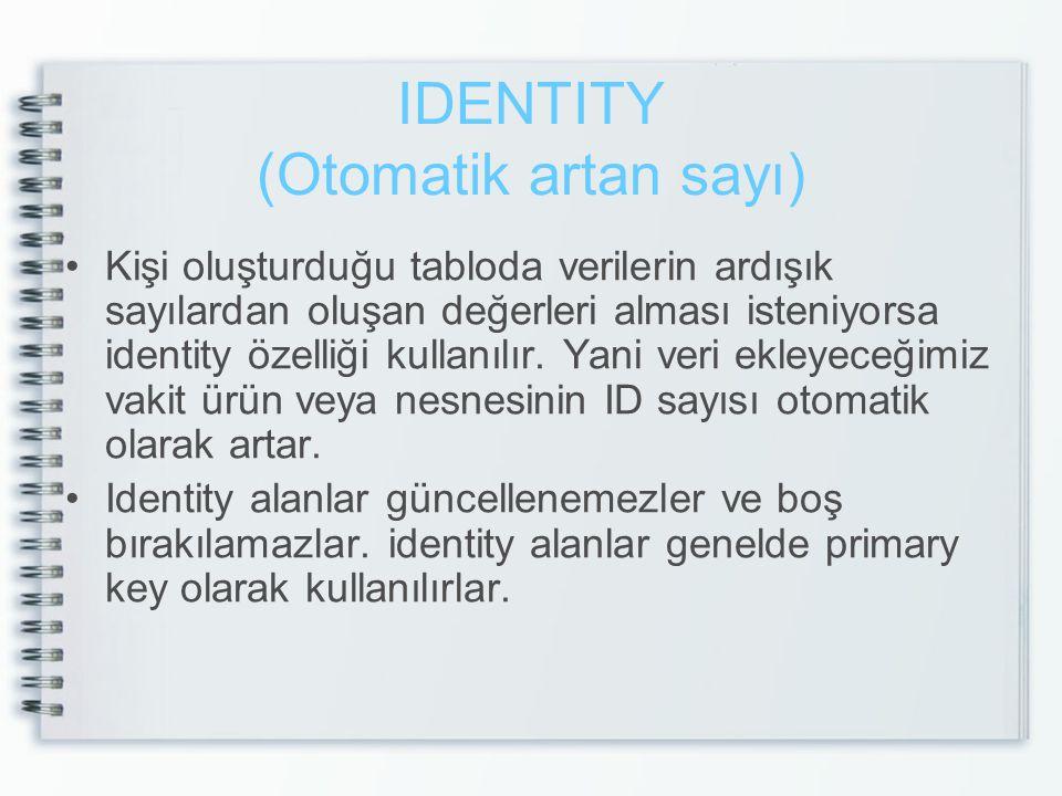 IDENTITY (Otomatik artan sayı)
