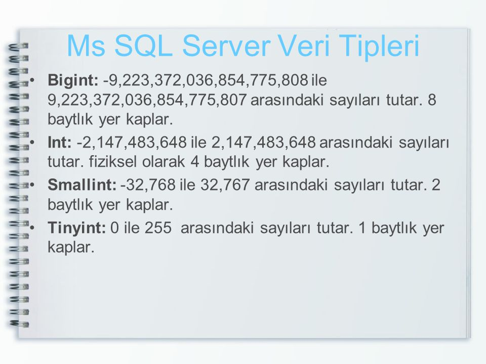 Ms SQL Server Veri Tipleri