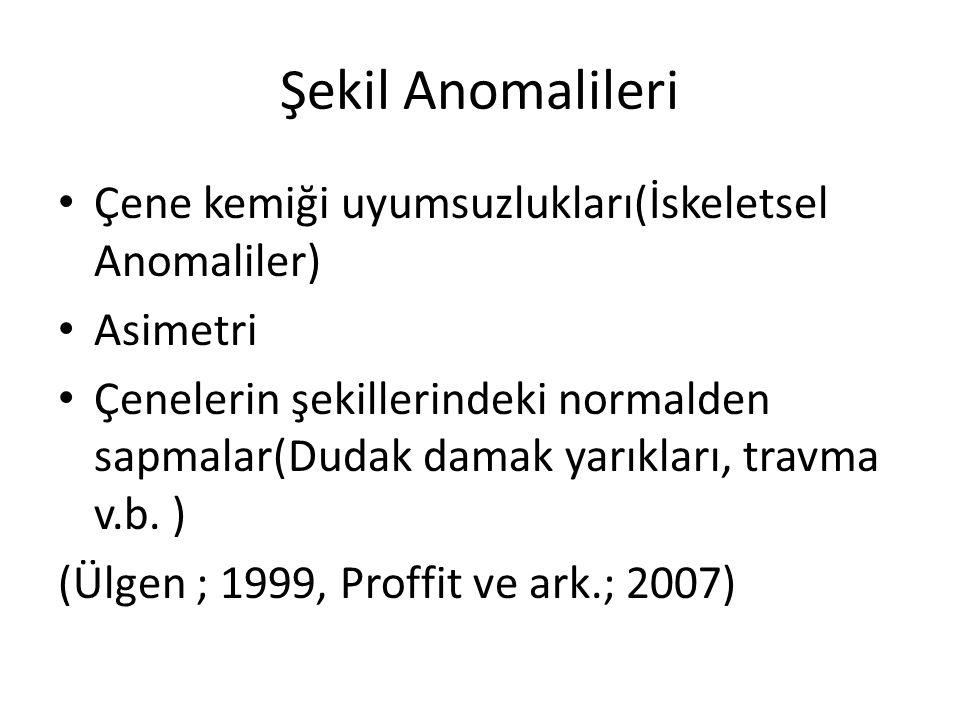 Şekil Anomalileri Çene kemiği uyumsuzlukları(İskeletsel Anomaliler)