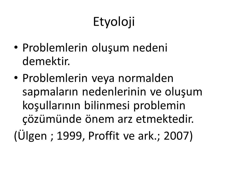 Etyoloji Problemlerin oluşum nedeni demektir.