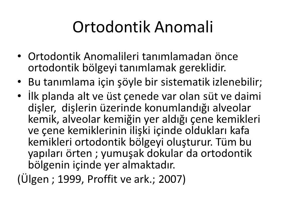 Ortodontik Anomali Ortodontik Anomalileri tanımlamadan önce ortodontik bölgeyi tanımlamak gereklidir.