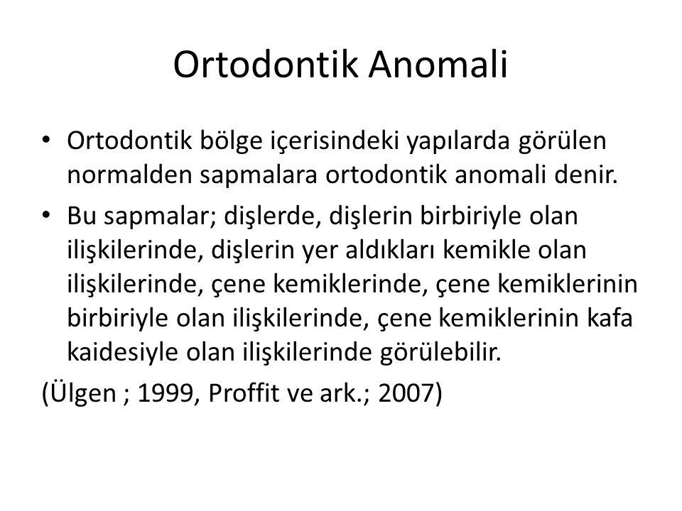 Ortodontik Anomali Ortodontik bölge içerisindeki yapılarda görülen normalden sapmalara ortodontik anomali denir.