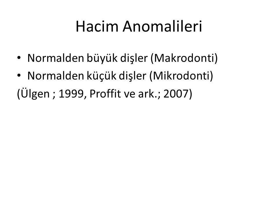 Hacim Anomalileri Normalden büyük dişler (Makrodonti)