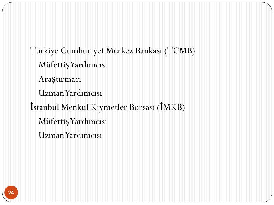 Türkiye Cumhuriyet Merkez Bankası (TCMB) Müfettiş Yardımcısı Araştırmacı Uzman Yardımcısı İstanbul Menkul Kıymetler Borsası (İMKB)