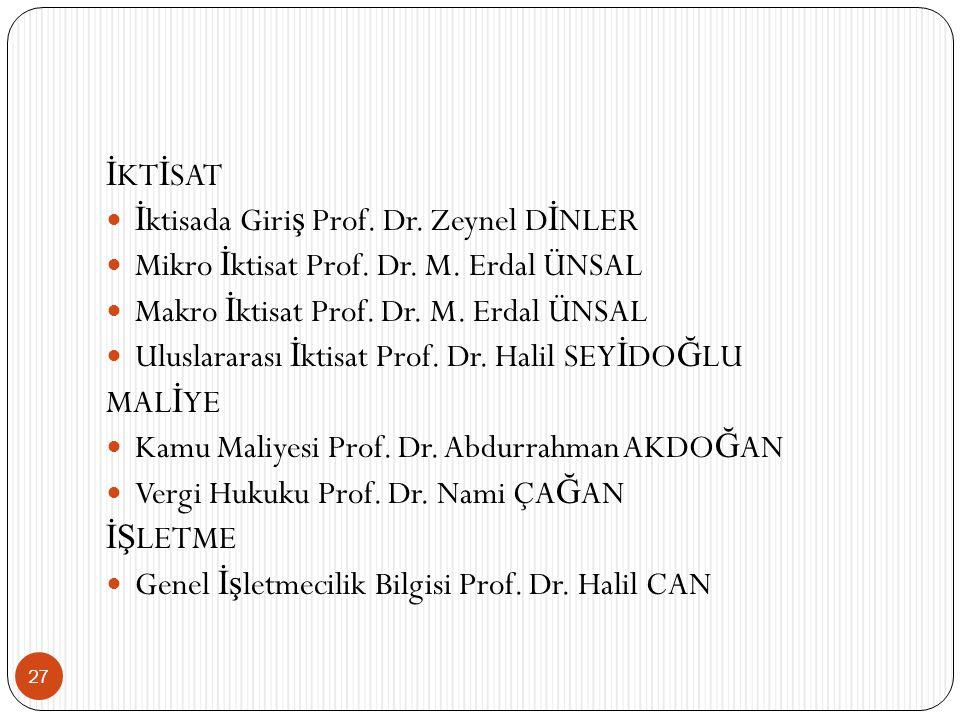 İKTİSAT İktisada Giriş Prof. Dr. Zeynel DİNLER. Mikro İktisat Prof. Dr. M. Erdal ÜNSAL. Makro İktisat Prof. Dr. M. Erdal ÜNSAL.