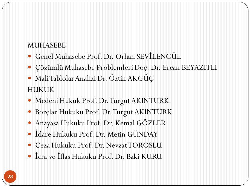 MUHASEBE Genel Muhasebe Prof. Dr. Orhan SEVİLENGÜL. Çözümlü Muhasebe Problemleri Doç. Dr. Ercan BEYAZITLI.