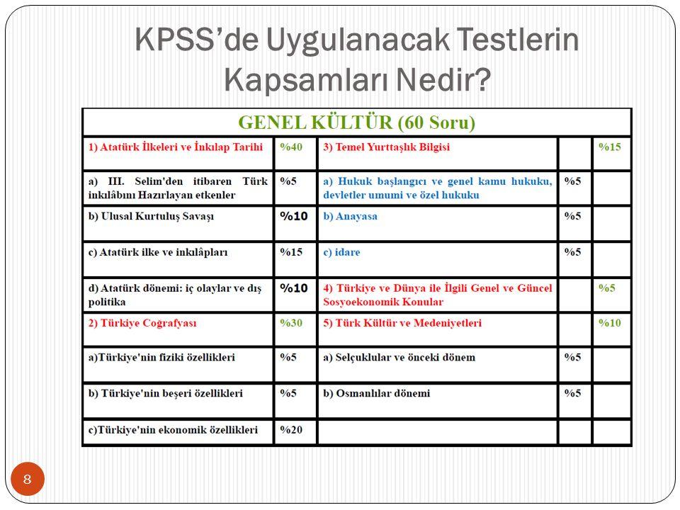 KPSS'de Uygulanacak Testlerin Kapsamları Nedir
