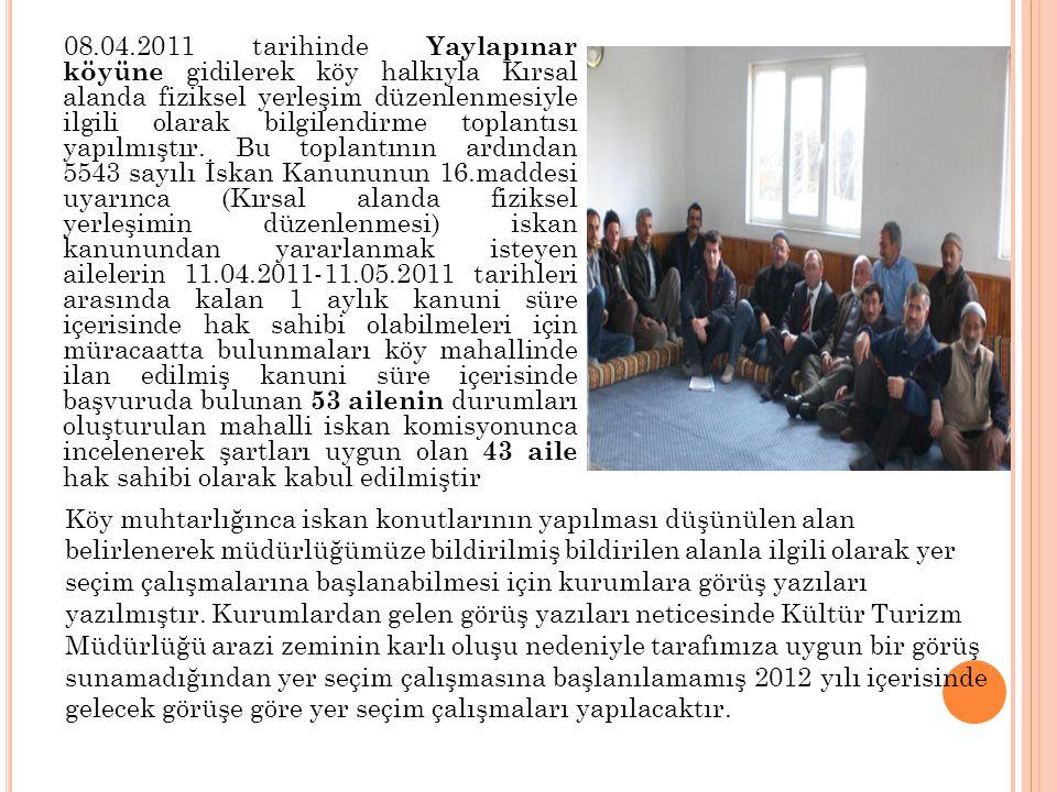 08.04.2011 tarihinde Yaylapınar köyüne gidilerek köy halkıyla Kırsal alanda fiziksel yerleşim düzenlenmesiyle ilgili olarak bilgilendirme toplantısı yapılmıştır. Bu toplantının ardından 5543 sayılı İskan Kanununun 16.maddesi uyarınca (Kırsal alanda fiziksel yerleşimin düzenlenmesi) iskan kanunundan yararlanmak isteyen ailelerin 11.04.2011-11.05.2011 tarihleri arasında kalan 1 aylık kanuni süre içerisinde hak sahibi olabilmeleri için müracaatta bulunmaları köy mahallinde ilan edilmiş kanuni süre içerisinde başvuruda bulunan 53 ailenin durumları oluşturulan mahalli iskan komisyonunca incelenerek şartları uygun olan 43 aile hak sahibi olarak kabul edilmiştir