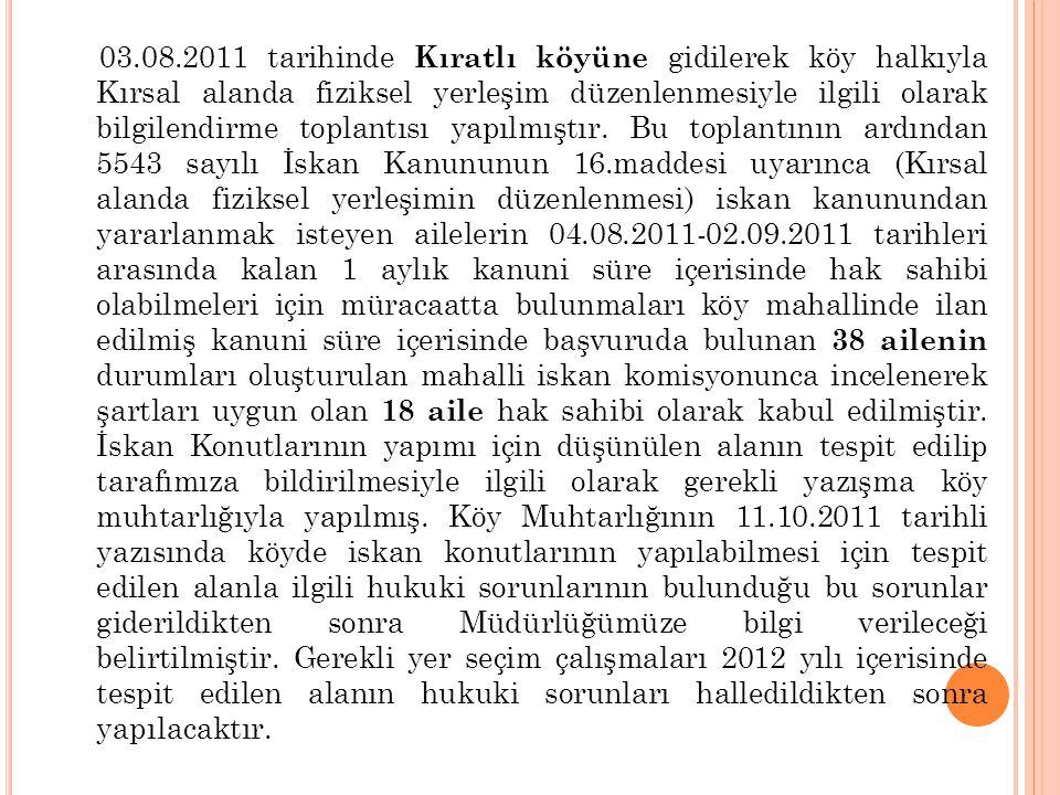 03.08.2011 tarihinde Kıratlı köyüne gidilerek köy halkıyla Kırsal alanda fiziksel yerleşim düzenlenmesiyle ilgili olarak bilgilendirme toplantısı yapılmıştır. Bu toplantının ardından 5543 sayılı İskan Kanununun 16.maddesi uyarınca (Kırsal alanda fiziksel yerleşimin düzenlenmesi) iskan kanunundan yararlanmak isteyen ailelerin 04.08.2011-02.09.2011 tarihleri arasında kalan 1 aylık kanuni süre içerisinde hak sahibi olabilmeleri için müracaatta bulunmaları köy mahallinde ilan edilmiş kanuni süre içerisinde başvuruda bulunan 38 ailenin durumları oluşturulan mahalli iskan komisyonunca incelenerek şartları uygun olan 18 aile hak sahibi olarak kabul edilmiştir. İskan Konutlarının yapımı için düşünülen alanın tespit edilip tarafımıza bildirilmesiyle ilgili olarak gerekli yazışma köy muhtarlığıyla yapılmış. Köy Muhtarlığının 11.10.2011 tarihli yazısında köyde iskan konutlarının yapılabilmesi için tespit edilen alanla ilgili hukuki sorunlarının bulunduğu bu sorunlar giderildikten sonra Müdürlüğümüze bilgi verileceği belirtilmiştir. Gerekli yer seçim çalışmaları 2012 yılı içerisinde tespit edilen alanın hukuki sorunları halledildikten sonra yapılacaktır.