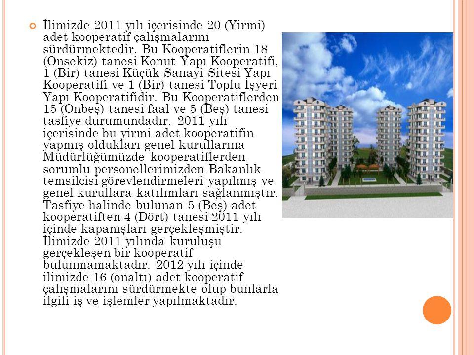 İlimizde 2011 yılı içerisinde 20 (Yirmi) adet kooperatif çalışmalarını sürdürmektedir.
