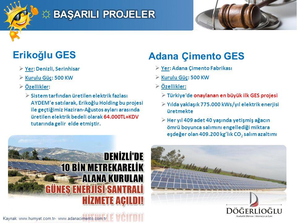 ☼ BAŞARILI PROJELER Erikoğlu GES Adana Çimento GES
