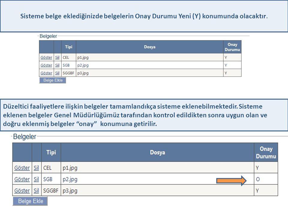 Sisteme belge eklediğinizde belgelerin Onay Durumu Yeni (Y) konumunda olacaktır.