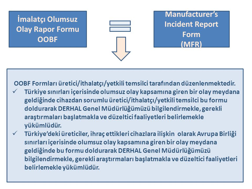 İmalatçı Olumsuz Olay Rapor Formu Manufacturer's Incident Report Form