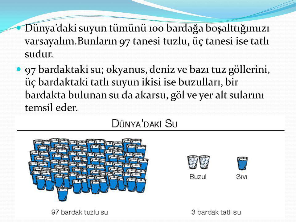 Dünya'daki suyun tümünü 100 bardağa boşalttığımızı varsayalım