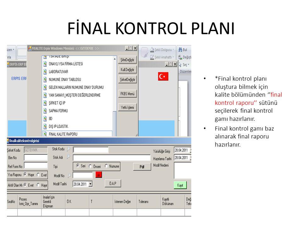 FİNAL KONTROL PLANI