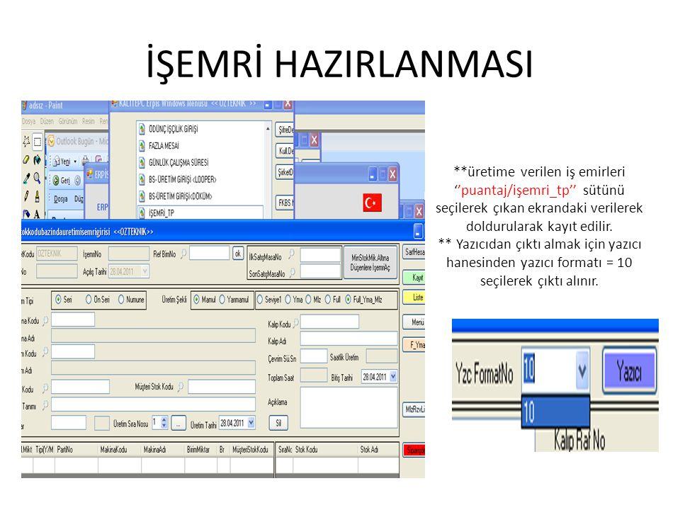 İŞEMRİ HAZIRLANMASI **üretime verilen iş emirleri ''puantaj/işemri_tp'' sütünü seçilerek çıkan ekrandaki verilerek doldurularak kayıt edilir.