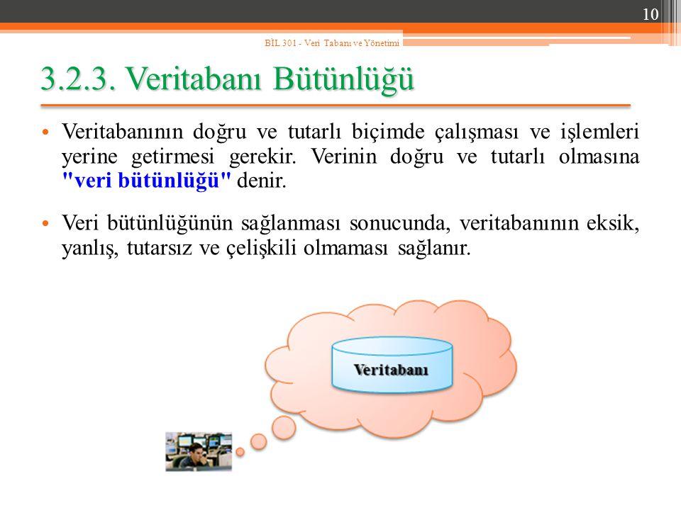 10 BİL 301 - Veri Tabanı ve Yönetimi. 3.2.3. Veritabanı Bütünlüğü.