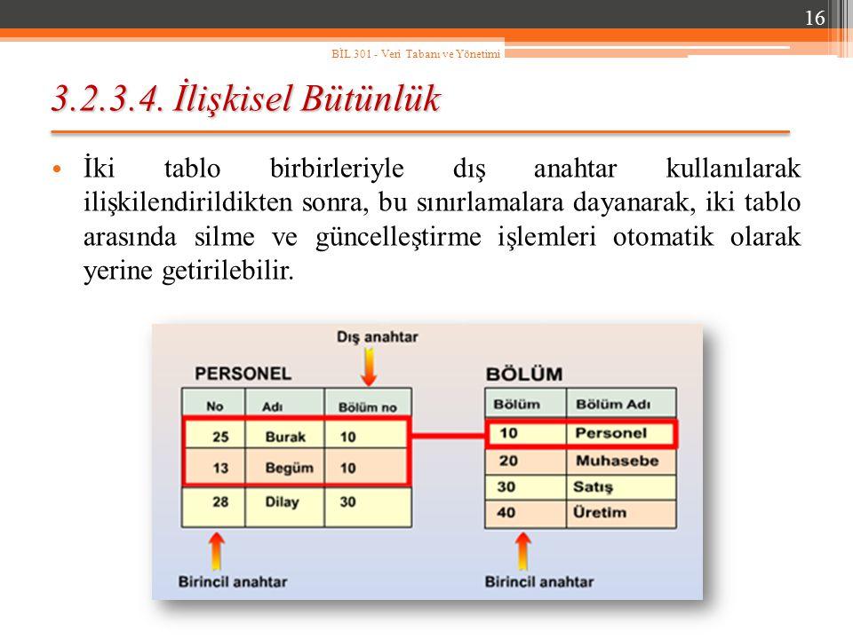 16 BİL 301 - Veri Tabanı ve Yönetimi. 3.2.3.4. İlişkisel Bütünlük.