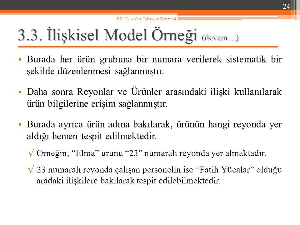 3.3. İlişkisel Model Örneği (devam…)