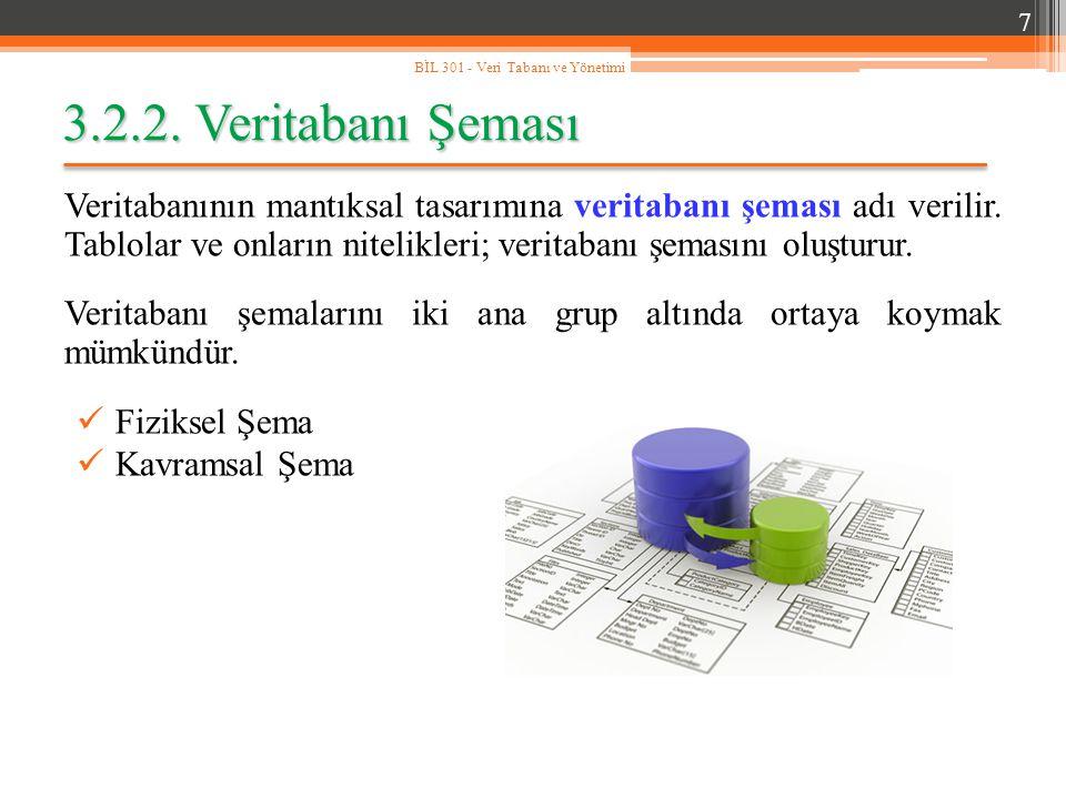 7 BİL 301 - Veri Tabanı ve Yönetimi. 3.2.2. Veritabanı Şeması.