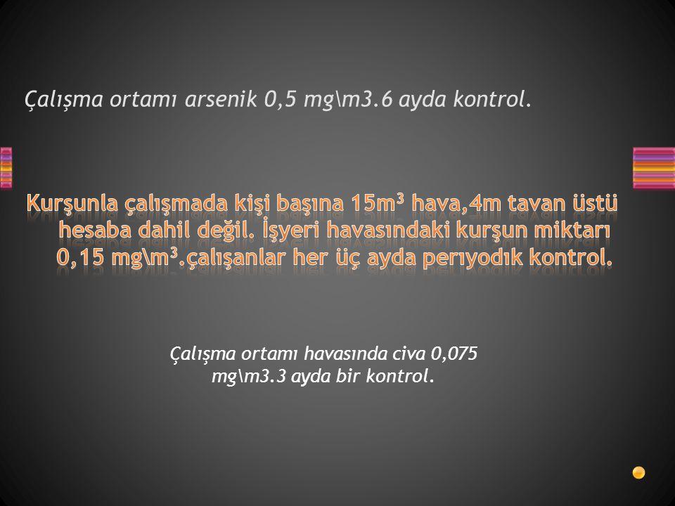 Çalışma ortamı arsenik 0,5 mg\m3.6 ayda kontrol.