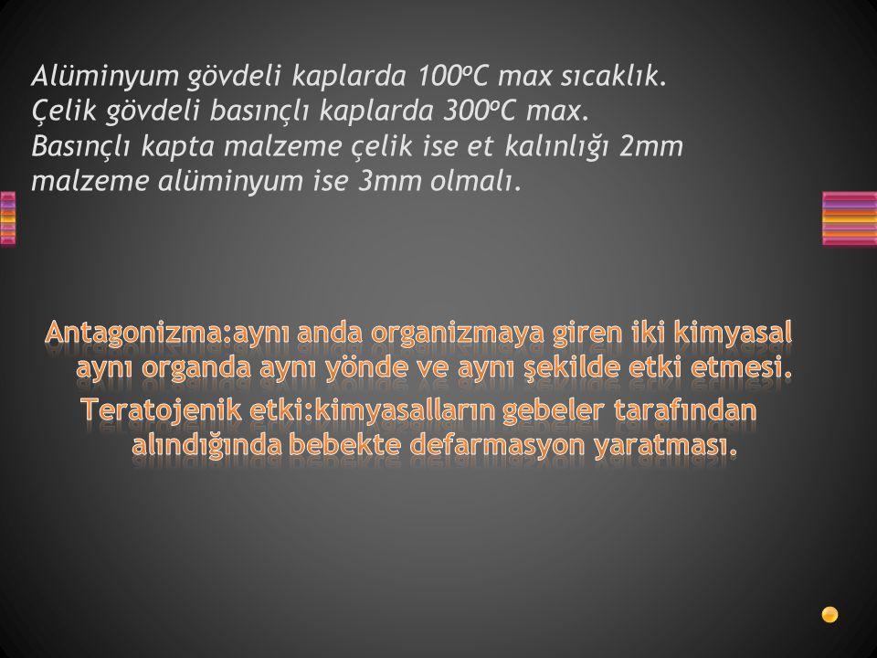 Alüminyum gövdeli kaplarda 100oC max sıcaklık