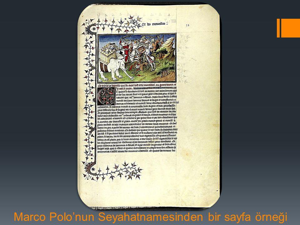Marco Polo'nun Seyahatnamesinden bir sayfa örneği